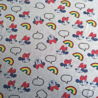 160X100cm Minnie Mouse Rainbow Gray Knitted Cotton Fabric For Baby Girl Pajamas Clothes Sewing Patchwork DIY