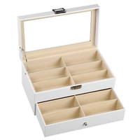 White Glasses Display Storage Box 12 Layers Of Flannel Sunglasses Box Vertical Double Cover Glasses Display Box Transparent Co