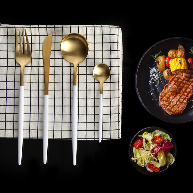 Beau 4PCS/set Matte White Gold Stainless Steel Cutlery Western Steak Knife Fork  Dinner Utensils Kitchen