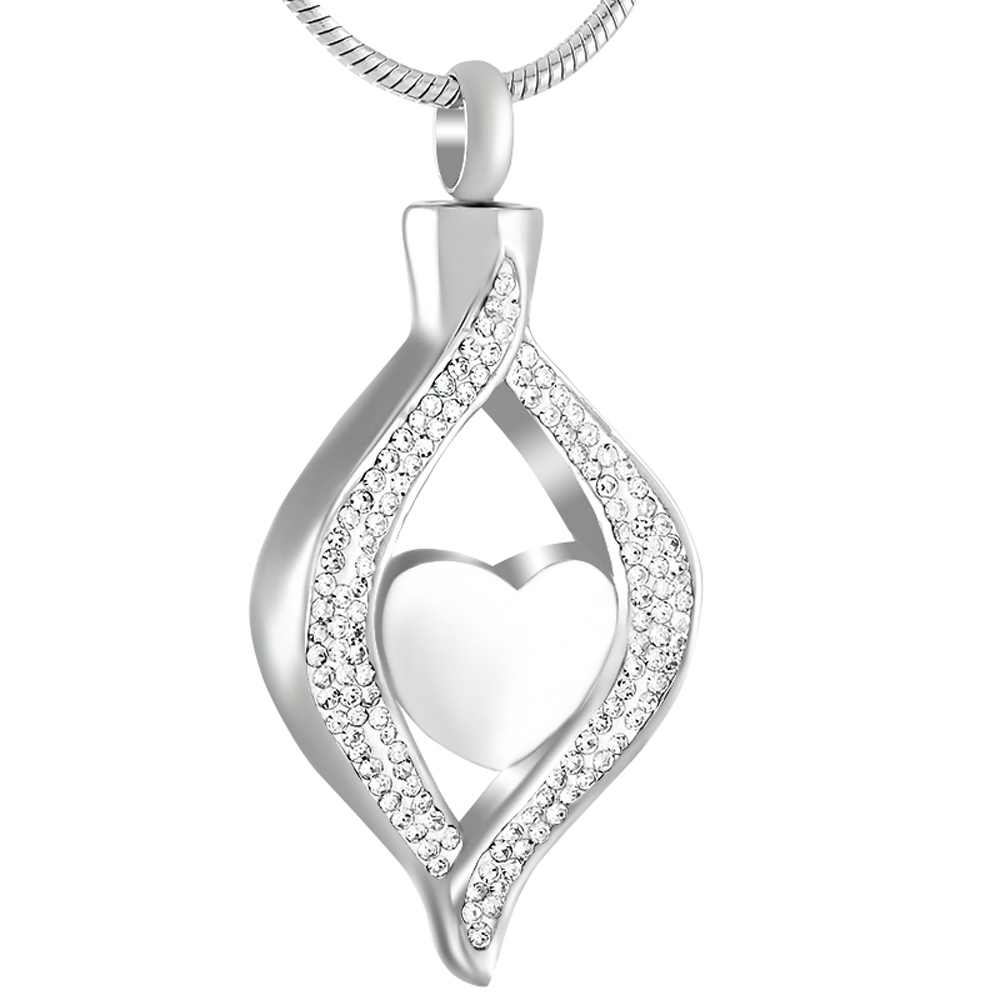IJD9240 Stainless Steel Crystal Teardrop Heart Cremation Pendant Memorial Necklace For Women Ashes Holder Urn Keepsake Jewelry