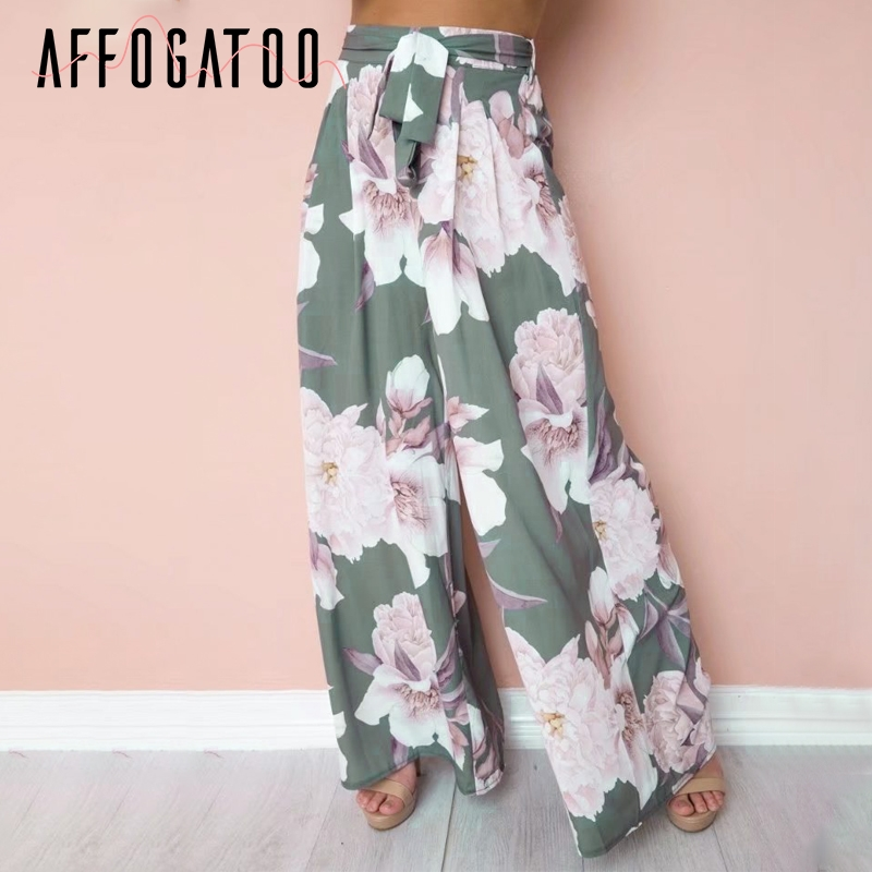 Affogatoo Loose print casual   pants   women Sash elastic floral high waist   wide     leg     pants   Summer beach high waist female   pants