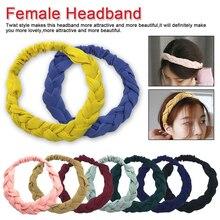 Fashion Women's Braid Elastic Hair Bands for Girls Headband Head Wrap Hair Accessories Solid Color Twist hair band