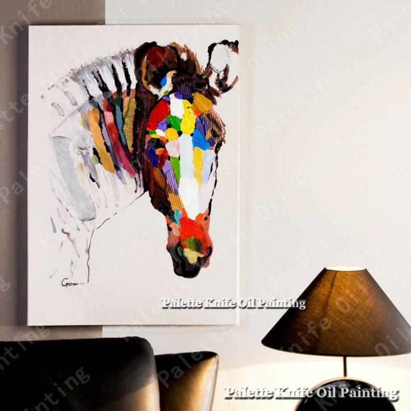 Olejomalba na plátně Nástěnné obrazy Obrazy pro obývací pokoj Wall Art Canvas Pop art Koně moderní abstraktní ručně malované 1