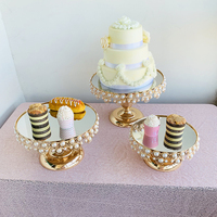 1pcs 3pcs cake stand set mirror pearls new style good quality cake plate