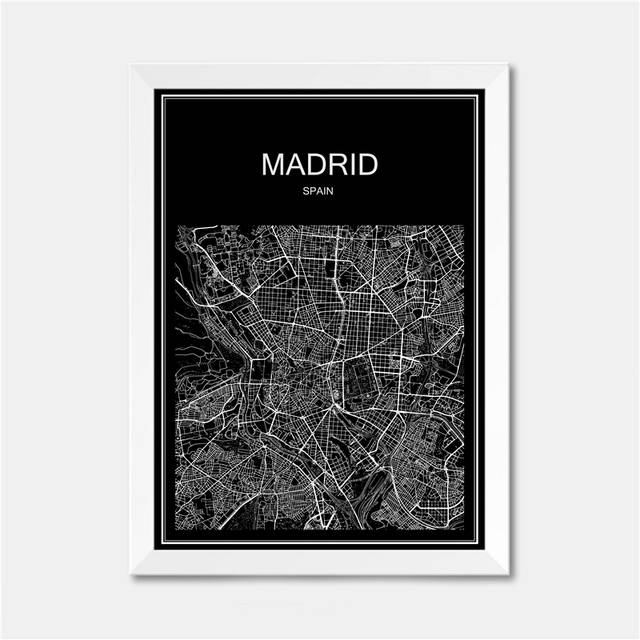 Online Shop Madrid Spain CITY World map poster abstract vintage ...