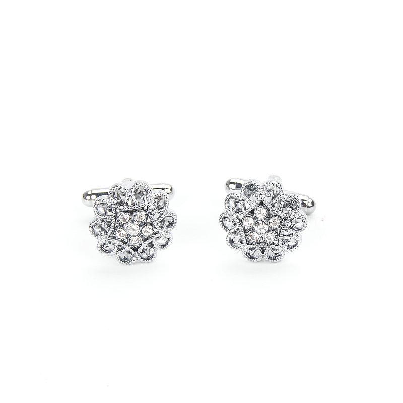 Brand New Cuff links for mens Silver Button with Crystal Cheap Cufflinks Wedding Wholesale New Store Opening Big Discount(China)