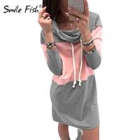 Plus Size Sweatshirts Dress Woman Turtleneck Winter Casual Mini Dresses Women Femme Autumn Spring Hoodies Dress
