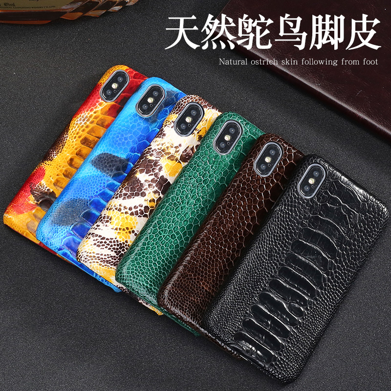 Чехол для телефона из натуральной кожи для xiaomi 8, Стильный чехол для мобильного телефона с отпечатком пальца, защитный чехол для ног страуса - 4