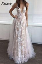 Xnxee V-Neck Beads Bodice Open Back A Line Long  Dress Party Elegant Vestido De Festa Fast Shipping Prom Gowns