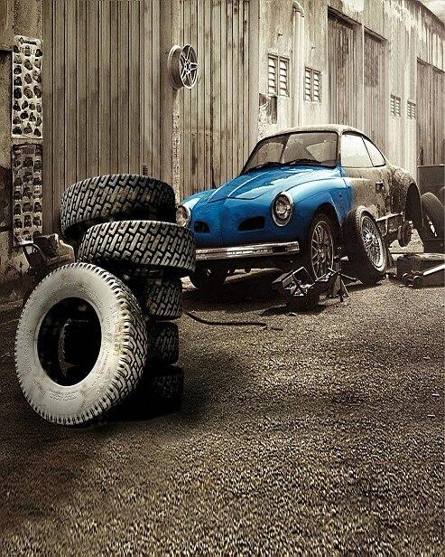 Mini Car Wallpaper: 200CM*150CM Child Backgrounds Sedan Car And Junked Tire