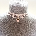 Handmade Crown Charm 1.5CM Pink Chemical Lace & Stainless Steel Jewelry Choker Necklaces