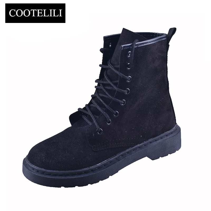 COOTELILI Autumn Ankle Boots For Women Casual Shoes Woman Lace up Faux Suede Tooling boots Botas Mujer Pink Black Size 35-39 1159 fashion ice silk lace sleepshirts for women deep pink black free size