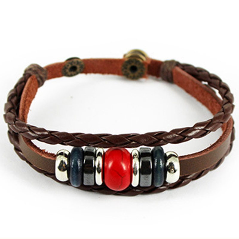 New Coming Brown Leather Braid Bracelets Gypsy Tribe Vintage Style Bangles Best Jewelry Gift for Friends