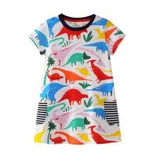 Baby Girls Short Sleeve Cute Dinosaur Print Polka Dot Cartoon Cotton Dress New Fashion Kids Summer Wear Dresses