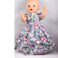 Горячий Стиль 43 см Baby Born Zapf Кукла Одежда Мода Розы Печати Платье Наряд для Куклы Baby Born AD71