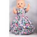 Hot Style 43cm Baby Born Zapf Doll Clothes Fashion Rose Flower Print Dress Outfit for Baby Born Doll AD71