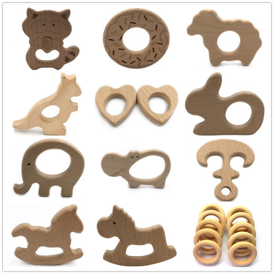 10 PCS BPA FREE Natural Wood Teether Cartoon Animal Shape Wooden Baby Teether Toy Safe New Baby Teething Toys Baby Shower Gift