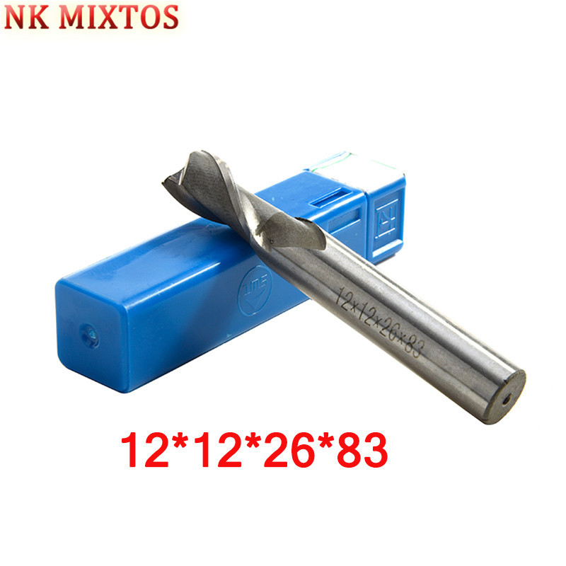 Nuovo 1 Pz 12*12*26*83mm Hss Cnc Con Codolo 2 Flute End Mill Frese Fresa In Metallo Drilling Machine Tool