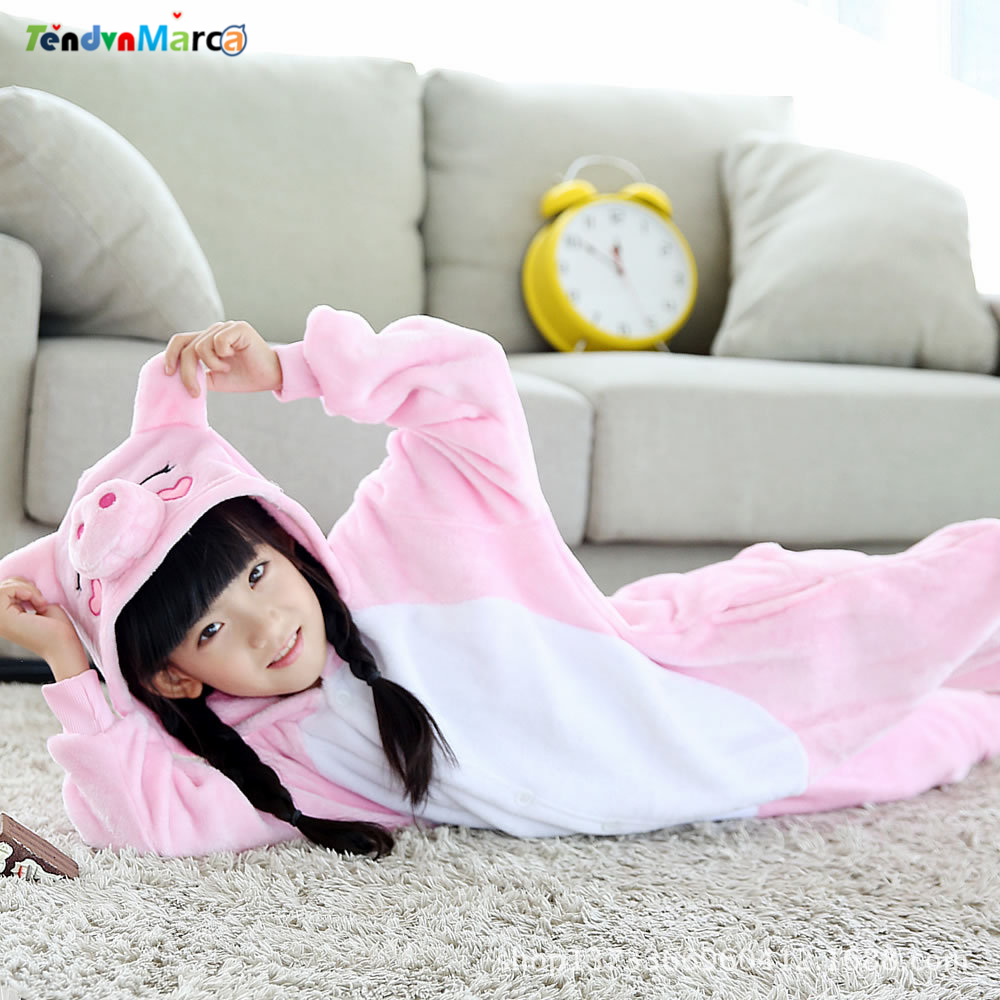 2018 Roupas Infantis Menina Kids Christmas Pajamas And Flannel Pig Pajamas Baby Kids Onesie Children Cartoon Pyjamas Sleepwear