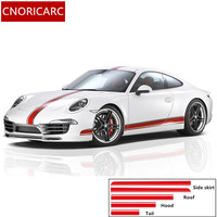 CNORICARC Car Body Modified Customized Side Skirt Decals Racing Lines Styling Vinyl Sticker For Porsche 911 Cayenne Boxster