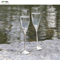 2pcs Lot Shiny Silver Plated Champagne Glass Flutes Zinc Alloy Red Wine Glasses For Wedding Party