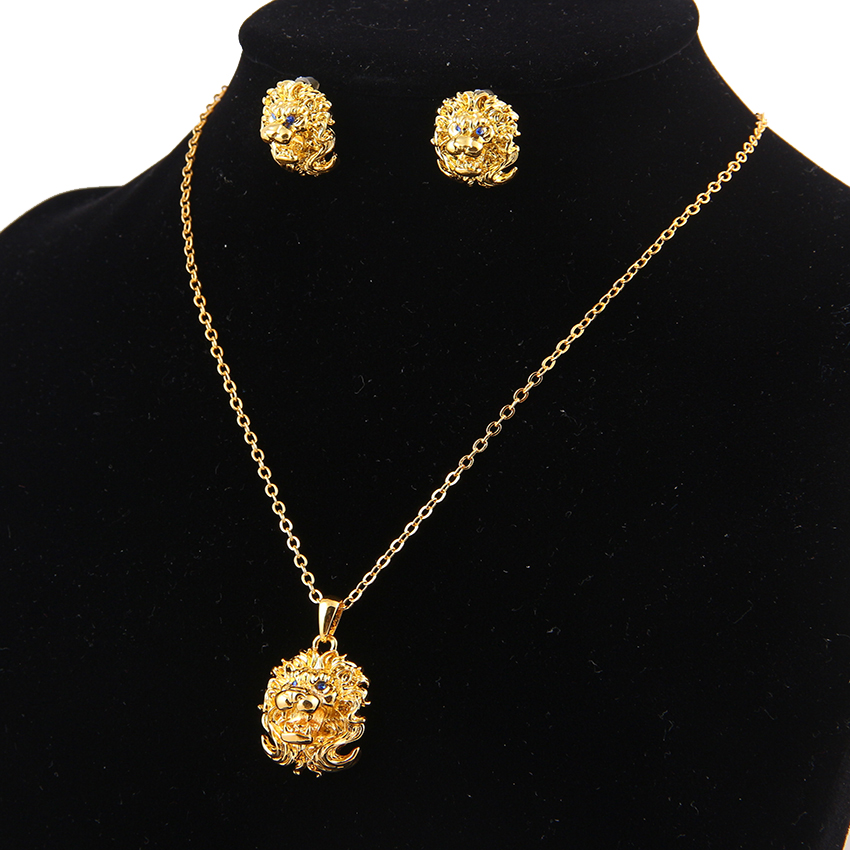 Jewelry Set Gold Lion Head Pendant Earrings New Rhinestone Color Wedding Party Women Vintage African 2017