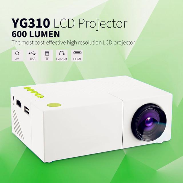 Mini Portátil YG310 LCD Projetor Home Cinema Theater PC Laptop CVBS USB SD HDMI 400 Lumens 1080 P Cinema em casa LEVOU Projetor TV