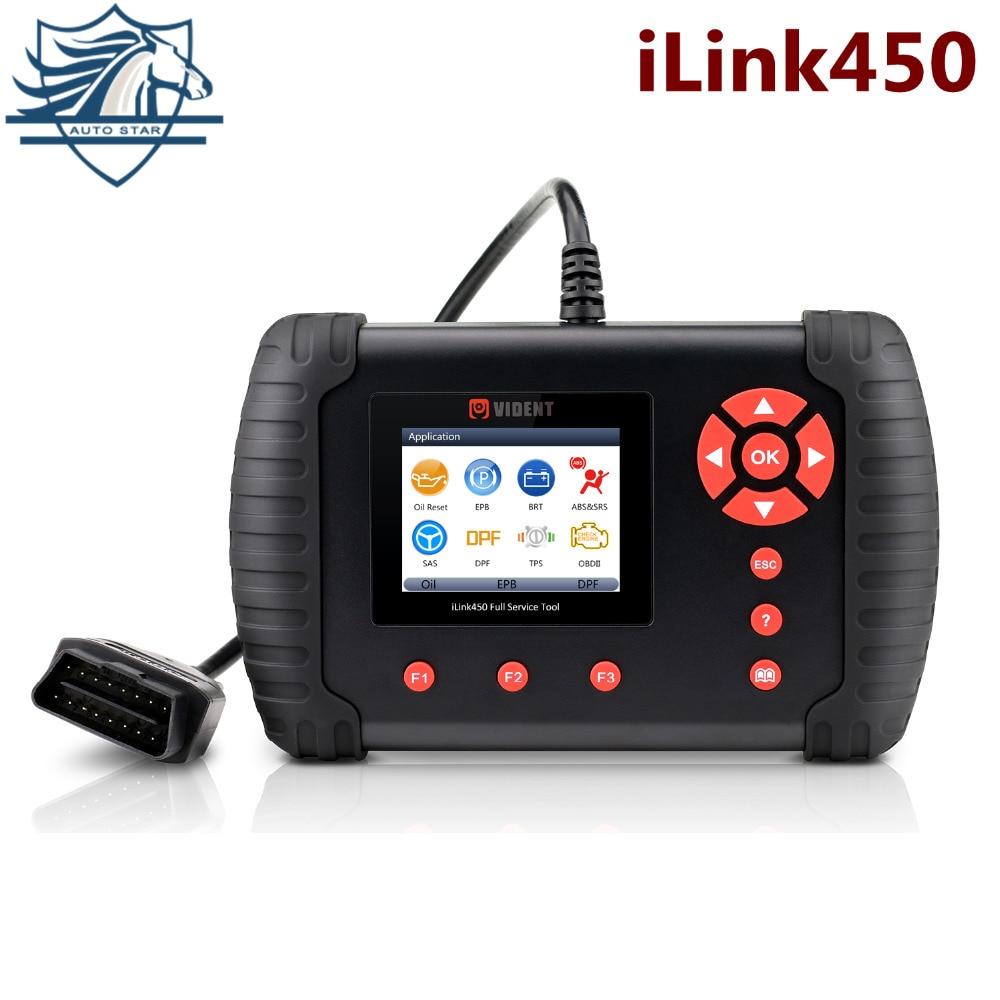 VIDENT iLink450 Full Service Tool,Oil Reset EPB ABS SAS Airbag Reset Throttle Body Alignment DPF Regeneration Better than NT644 si reset 10 in 1 universal service light and airbag reset tool