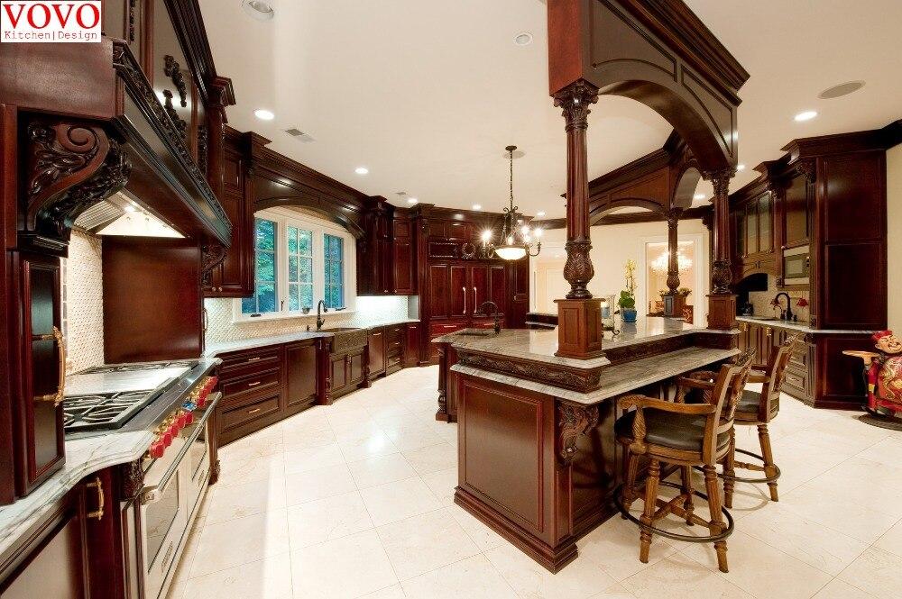 Elegante cereza muebles de cocina de madera en Gabinetes de cocina ...