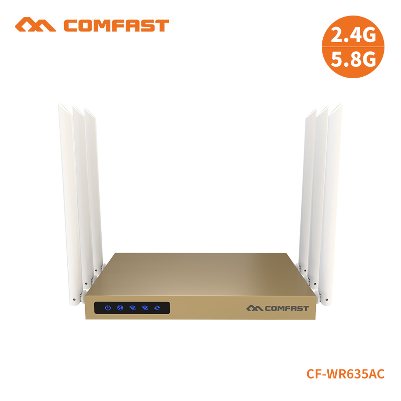 COMFAST CF-WR635AC 750Mbps 802.11ac Dual Band wireless router with 6*6dBi antenna wifi 128MB wi fi router wi-fi coverage 600sq.m comfast full gigabit core gateway ac gateway controller mt7621 wifi project manager with 4 1000mbps wan lan port 880mhz cf ac200