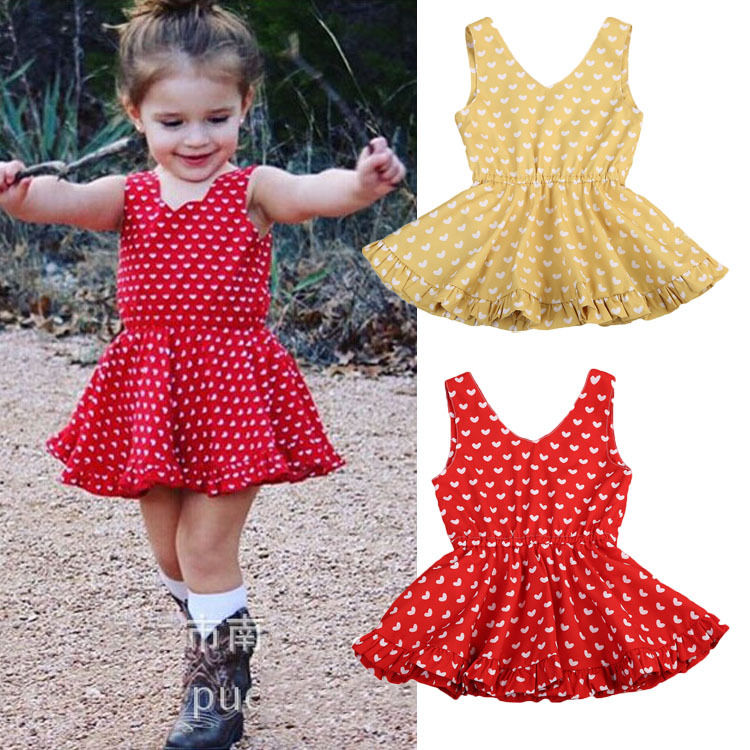 Cute Kids Baby Girls Love Heart Dresses Summer Sleeveless Red Yellow V neck Princess Tulle Tutu Dress Party Ball Gown Dresses 2017 princess baby girls dress summer sleeveless floral tutu ball gown child party dresses vestidos clothes 0 7y