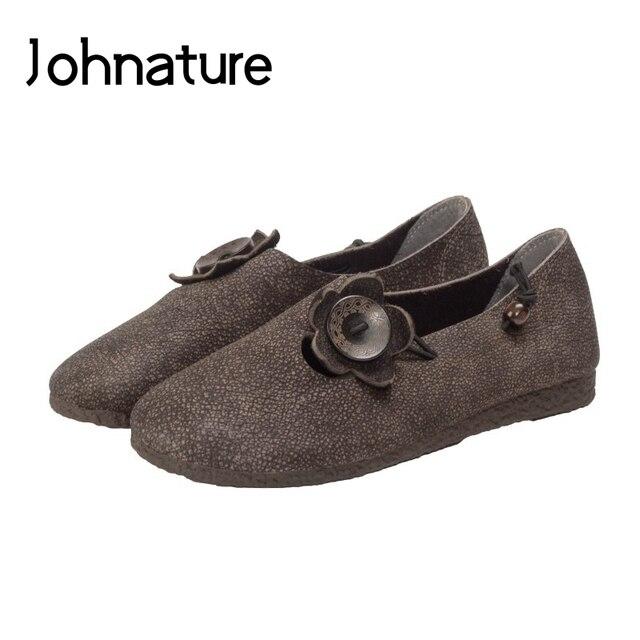 Johnature 2020 Mới Mùa Xuân/Mùa Thu Da Thật Chính Hãng Da Cho Nữ Retro Casual Giày Mũi Tròn Nông Hoa Trơn Đế Bằng Nữ giày