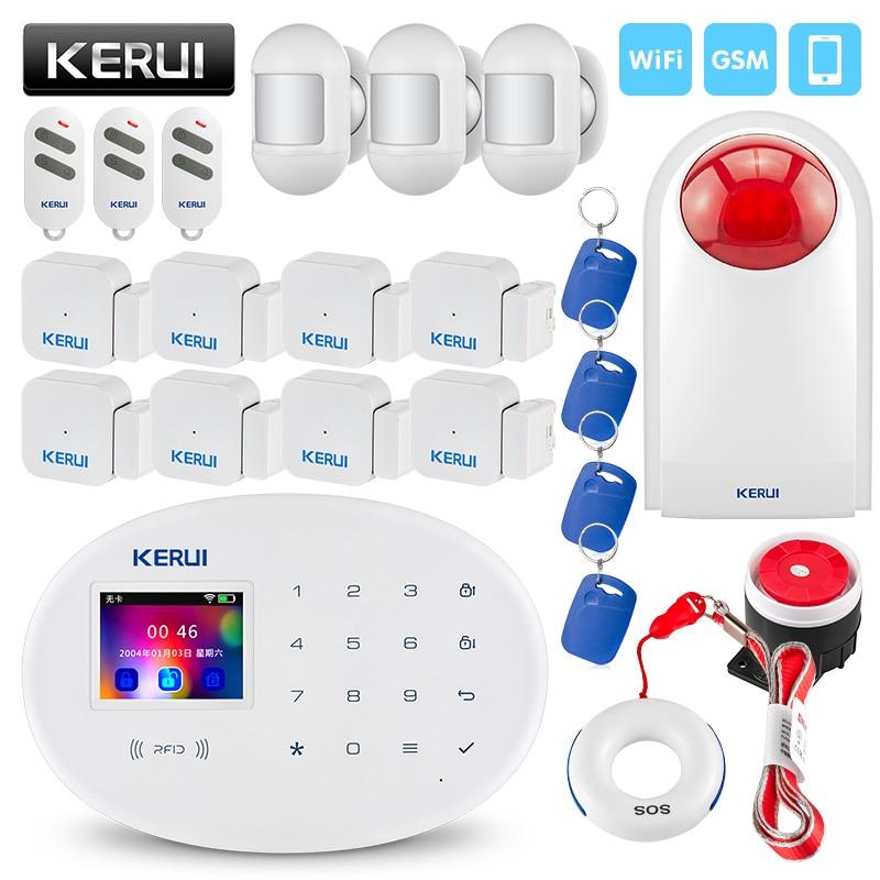KERUI W20 2.4 inch TFT Touch Panel Wireless Smart Home WIFI GSM Security Alarm System Built in Siren RFID Card Burglar Alarm g2bx intercom wireless gsm sms securtiy alarm system touch lcd sensors built in speaker without antenna wireless outdoor siren
