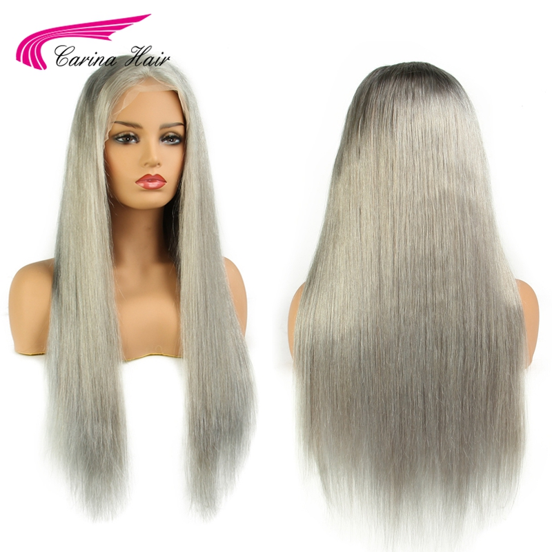 Carina Light Grey Color Lace Front Human Hair Wig with Baby Hair Pre Plucked Hairline Remy