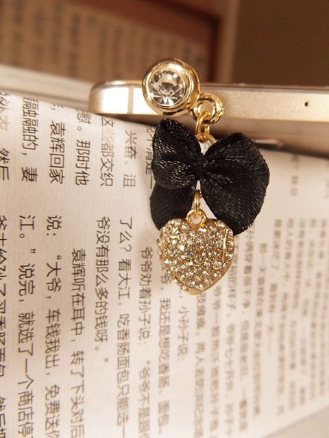 Delicate Bow tie love pendant phone dust plug mobile phone ear cap dust plug