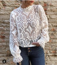 цена на Fashion chiffon blouse Women O-neck Stand Neck Lace Solid Long Sleeve Causal Tops Shirt Lace blouse women floral shirt for women
