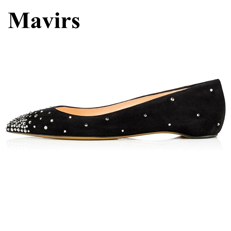 MAVIRS Brand Ballet Flats 2018 Pointed Toe Crystal Black Women Flats Slip-on Bride Wedding Shoes EU Size 35-46 pu pointed toe flats with eyelet strap