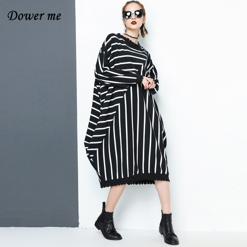 Spring Punk Style Women Knitted Dress Vestidos Fashion O Loose Ladies Dresses Female Casual Striped Frocks CP001 женское платье dresses dress women 2015 printsleeveless o summer style women dress