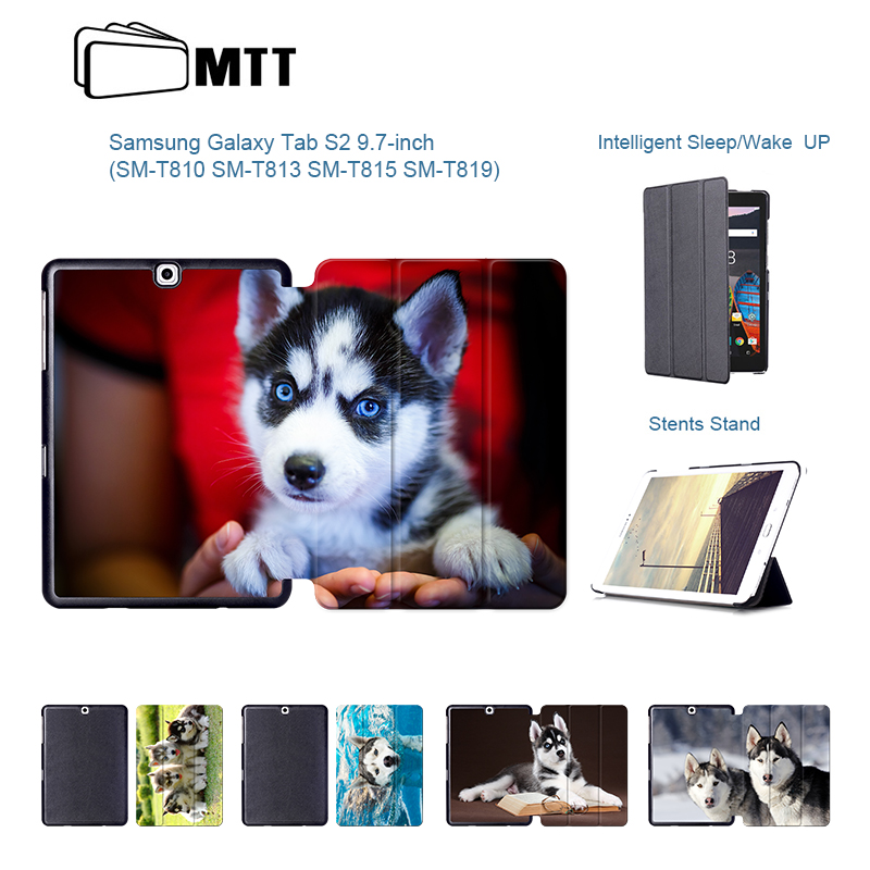 HUSKY Dog Skin Flip PU Leather Smart Cover For Samsung Galaxy Tab S2 9.7 inch SM-T810 SM-T813 SM-T815 SM-T819 Stand Tablet Case cuckoodo ultra slim detachable bluetooth keyboard portfolio leather case cover for samsung tab s2 9 7 inch sm t810 tablet