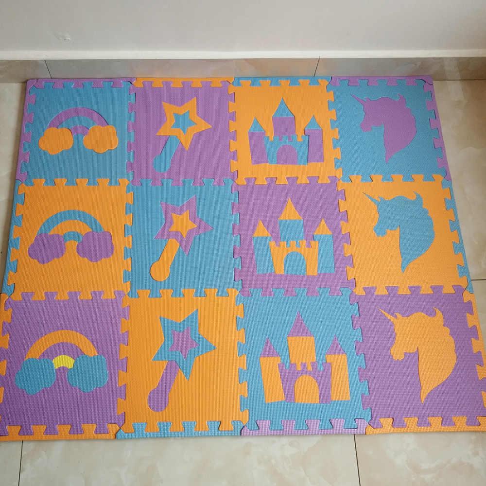 Meitoku EVA çocuk Oyun bulmaca matı Köpük, Gökkuşağı Kale Unicorn Aktivite Birbirine zemin halısı Fayans, 12 adet/torba Her 32x32 cm