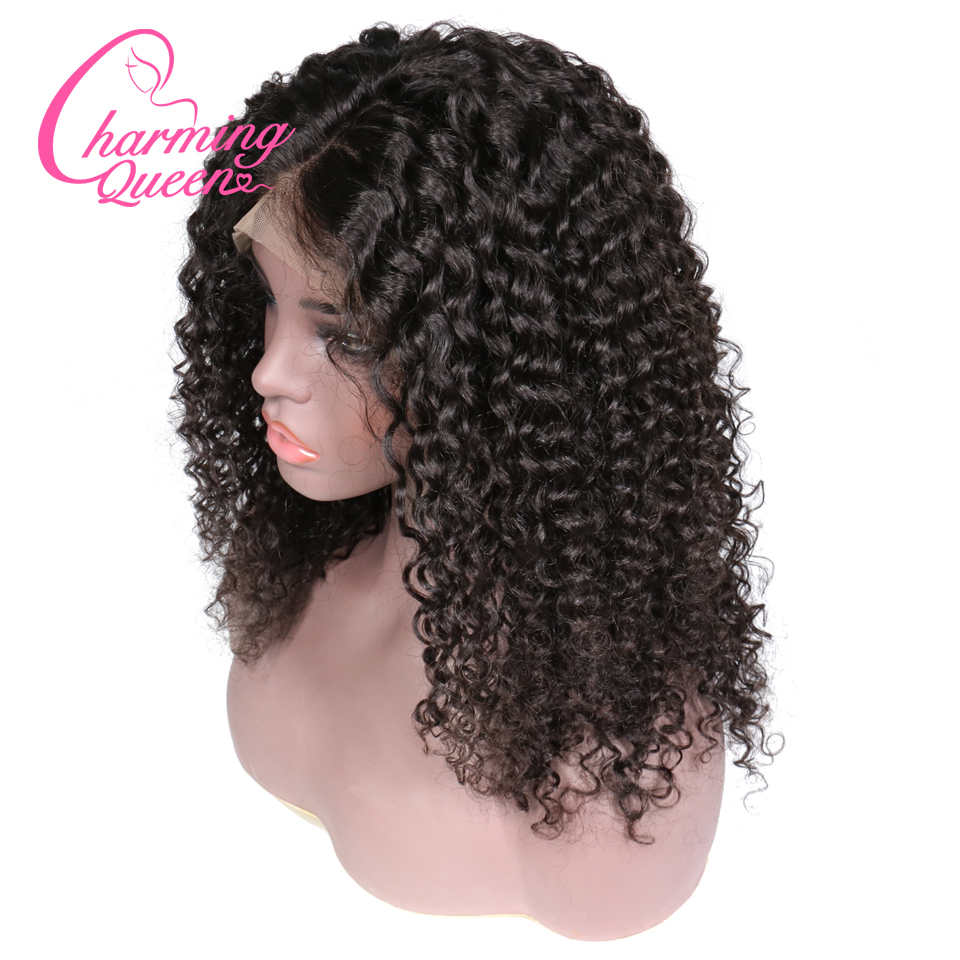 Charming Queen Curly Lace Front Human Hair Wigs Glueless Pre Plucked Brazilian Remy Hair Lace Wig