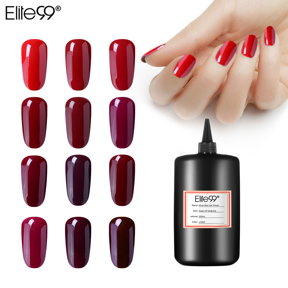 Elite99 250 ML Vin Rouge Série Gel vernis à ongles Vernis À Ongles UV led faire tremper au large couche de finition Base Manteau Gel Vernis À Ongles Gel laque