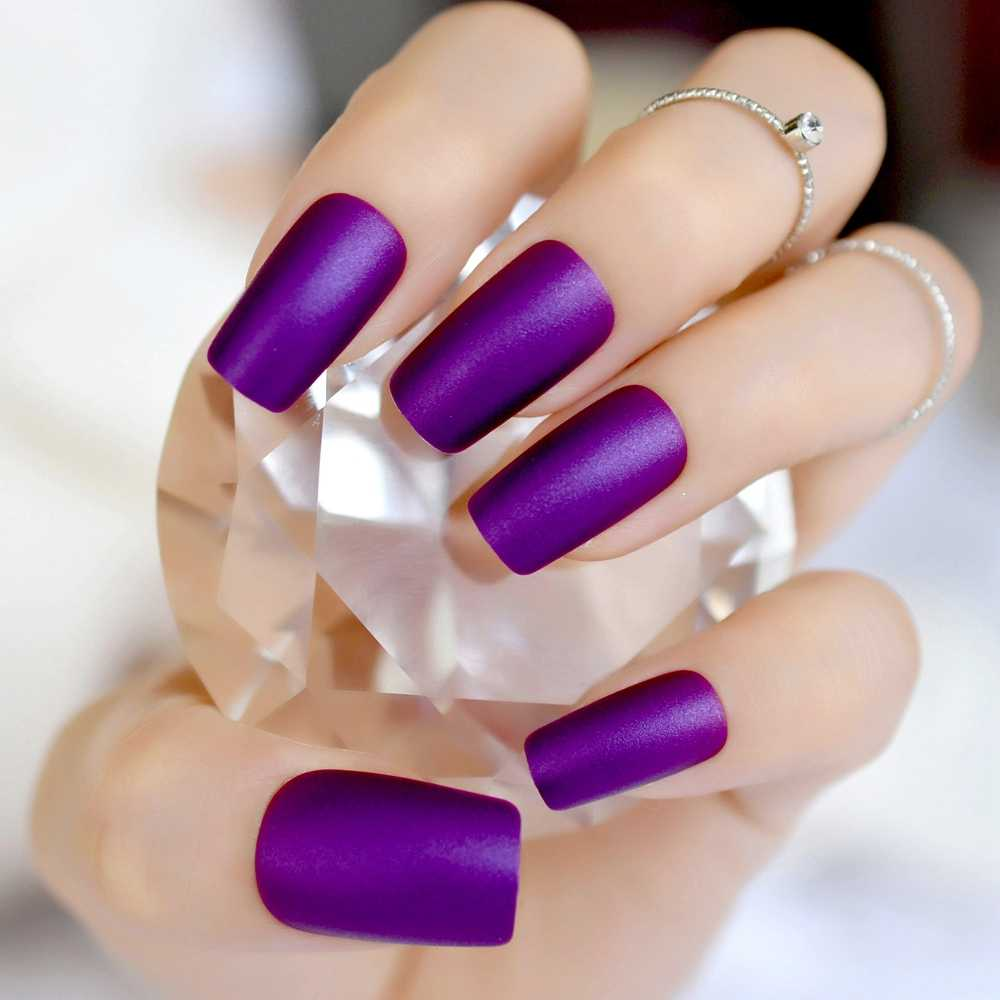 Elegant Violet Purple Long Matte False Fake Nail Frosted Nep Nagels Acrylic  Full Artificial Nails for Home Office faux ongles