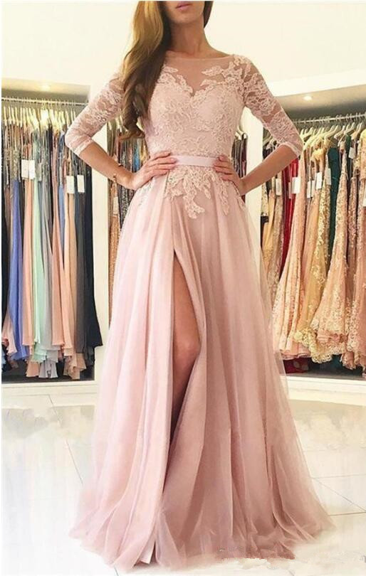 2019 Bridesmaid Dresses Blush Pink Lace Appliques Tulle Split Sashes Open Back Long Wedding Guest Dress Maid Of Honor Gowns