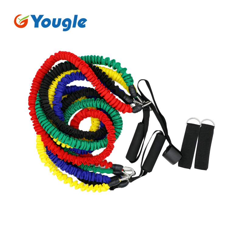 YOUGLE 11pcs/set Strength Training Resistance Bands Latex Bungee Bounce Trainer Pull Rope For Explosiveness Training Workout