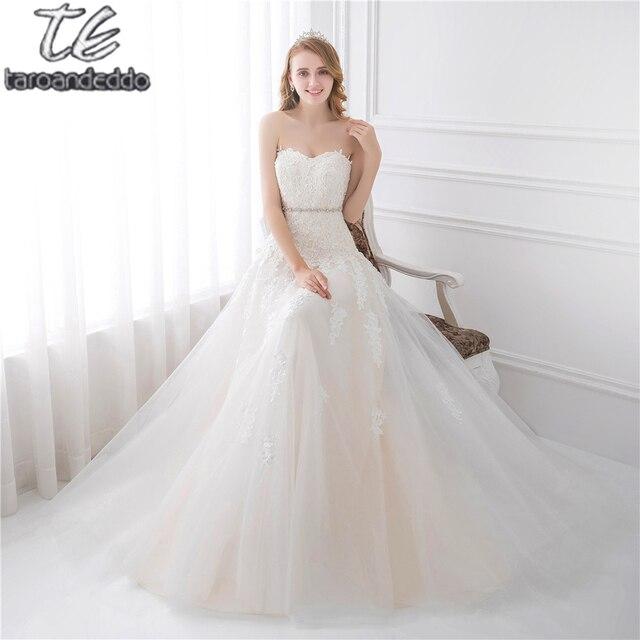 Luz querida Champagne Lace Applique Vestido De Casamento Com Cor Beading Sash Vestidos de Noiva Em Estoque Robe De Mariage