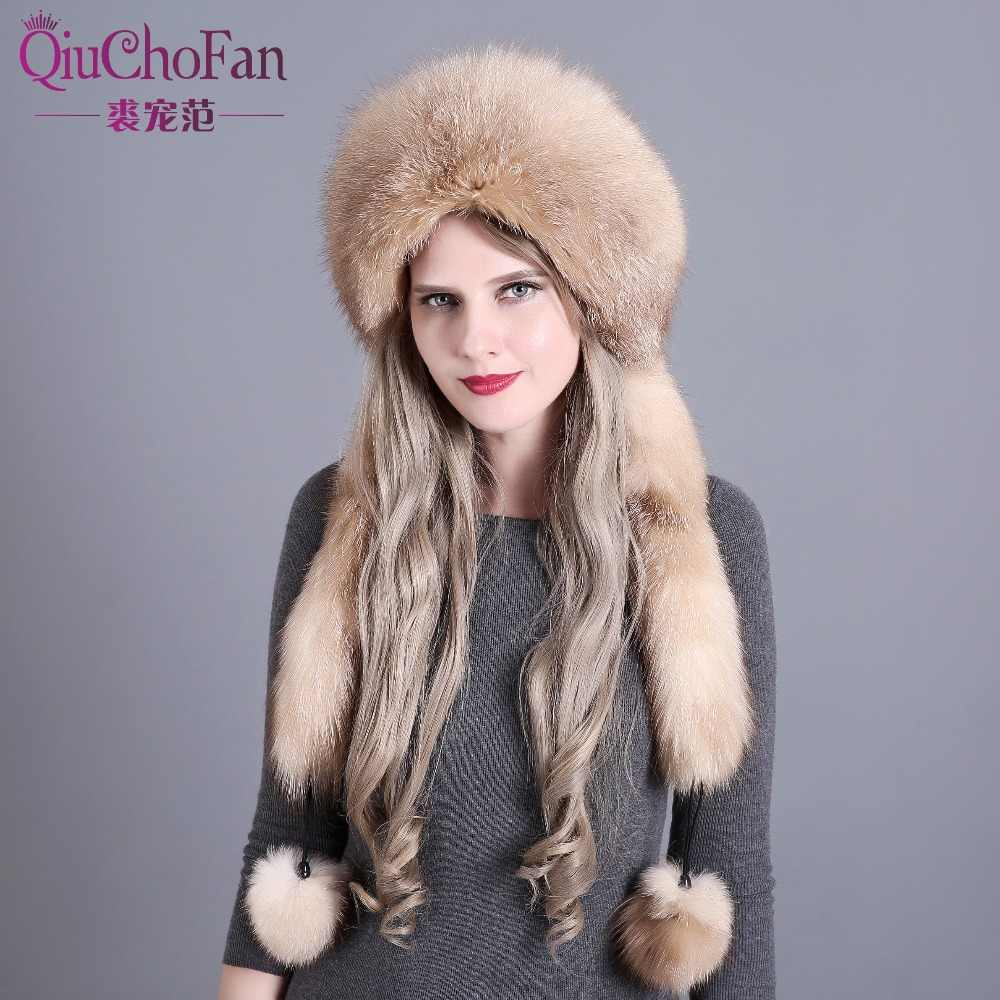 1f9cc3ecd1e Women s Winter Hats Genuine Fox Fur   Rabbit Fur Hat with 2 Pompons Whole  Fox Tail