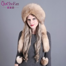 Womens Winter Hats Genuine Fox Fur & Rabbit Fur Hat with 2 Pompons Whole Fox Tail Russian Winter Outside Warm Mongolian Caps