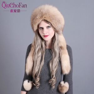 Image 1 - Womens Winter Hats Genuine Fox Fur & Rabbit Fur Hat with 2 Pompons Whole Fox Tail Russian Winter Outside Warm Mongolian Caps