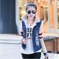 2015 novo algodão moda casual menina cor sólida grandes estaleiros parágrafo curto casaco de inverno mulheres jaqueta jeans
